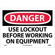 Danger, Use Lockout Before Working On Equipment, 10X14, Adhesive Vinyl