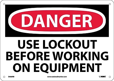 Danger, Use Lockout Before Working On Equipment, 10X14, Rigid Plastic