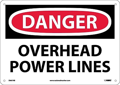 Danger, Overhead Power Lines, 10X14, .040 Aluminum