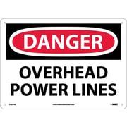 Danger, Overhead Power Lines, 10X14, Rigid Plastic