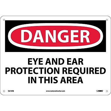 Danger, Eye And Ear Protection Required In This Area, 10X14, Rigid Plastic
