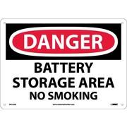 Danger, Battery Storage Area No Smoking, 10X14, .040 Aluminum
