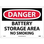 Danger, Battery Storage Area No Smoking, 10X14, Rigid Plastic