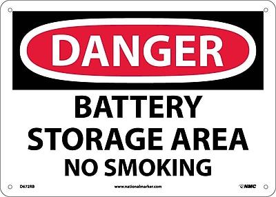 Danger, Battery Storage Area No Smoking, 10X14, Rigid Plastic