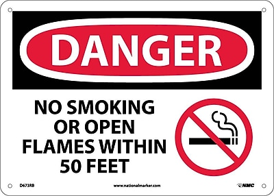 Danger, No Smoking Or Open Flames Within 50 Feet (Graphic), 10X14, Rigid Plastic