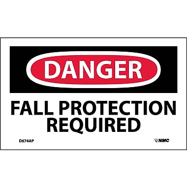 Labels Danger, Fall Protection Required, 3