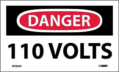 Labels - Danger, 110 Volts, 3X5, Adhesive Vinyl, 5/Pk