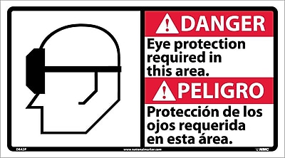 Danger, Eye Protection Required (Bilingual W/Graphic), 10X18, Adhesive Vinyl