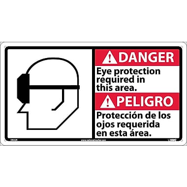Danger, Eye Protection Required In This Area (Bilingual W/Graphic), 10X18, Rigid Plastic