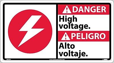 Danger, High Voltage (Bilingual W/Graphic), 10X18, Rigid Plastic