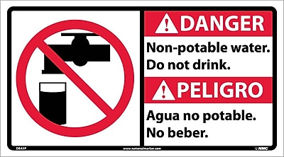 Danger, Non-Potable Water Do Not Drink (Bilingual W/Graphic), 10X18, Adhesive Vinyl