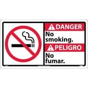 Danger, No Smoking (Bilingual W/Graphic), 10X18, Rigid Plastic