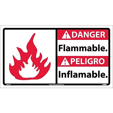 Danger, Flammable (Bilingual W/Graphic), 10X18, Adhesive Vinyl