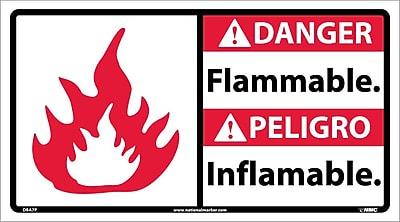 Danger, Flammable (Bilingual W/Graphic), 10X18, Adhesive Vinyl