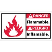 Danger, Flammable (Bilingual W/Graphic), 10X18, Rigid Plastic
