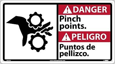 Danger, Pinch Points (Bilingual W/Graphic), 10X18, Rigid Plastic