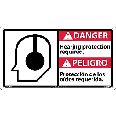 Danger, Hearing Protection Required (Bilingual W/Graphic), 10X18, Rigid Plastic