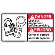Danger, Lock Out Equipment Before Servicing (Bilingual W/Graphic), 10X18, Adhesive Vinyl