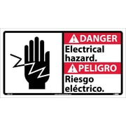 Danger, Electrical Hazard (Bilingual W/Graphic), 10X18, Adhesive Vinyl