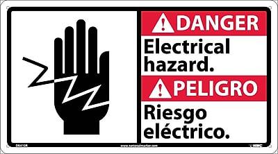Danger, Electrical Hazard (Bilingual W/Graphic), 10X18, Rigid Plastic