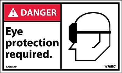 Labels - Danger, Eye Protection Required In This Area (W/Graphic), 3X5, Adhesive Vinyl, 5Pk