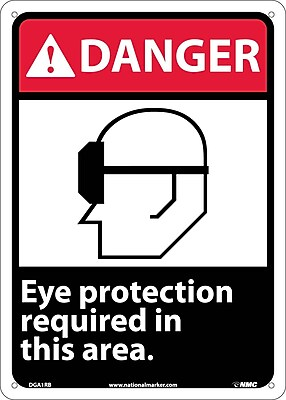 Danger, Eye Protection Required In This Area (W/Graphic), 14X10, Rigid Plastic