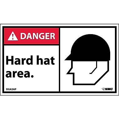 Labels - Danger, Hard Hat Area (Graphic), 3X5, Adhesive Vinyl, 5/Pk