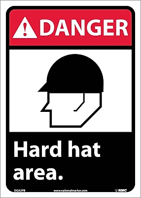 Danger, Hard Hat Area (W/Graphic), 14X10, Adhesive Vinyl