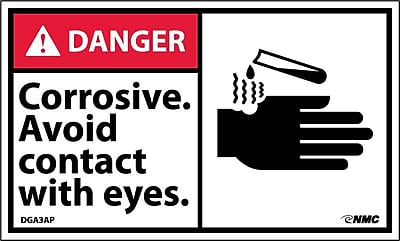 Labels - Danger, Corrosive Avoid Contact With Eyes (Graphic), 3X5, Adhesive Vinyl, 5/Pk