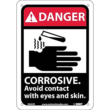 Danger, Corrosive Avoid Contact with Eyes And Skin with Graphic, 10