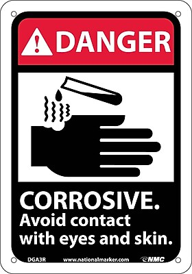 Danger, Corrosive Avoid Contact With Eyes And Skin (W/Graphic), 10X7, Rigid Plastic