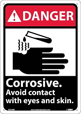 Danger, Corrosive Avoid Contact With Eyes And Skin (W/Graphic), 14X10, Rigid Plastic