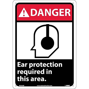 Danger, Ear Protection Required In This Area with Graphic, 14