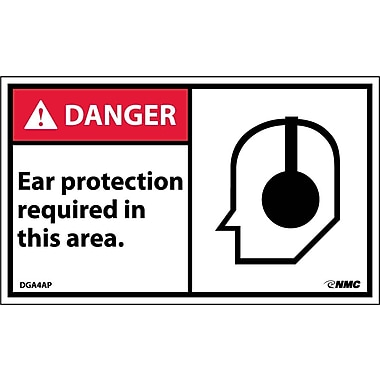 Labels Danger, Ear Protection Required In This Area, Graphic, 3