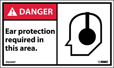 Labels - Danger, Ear Protection Required In This Area, Graphic, 3X5, Adhesive Vinyl, 5/Pk