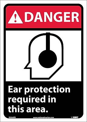 Danger, Ear Protection Required In This Area (W/Graphic), 14X10, Adhesive Vinyl
