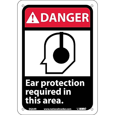 Danger, Ear Protection Required In This Area with Graphic, 10