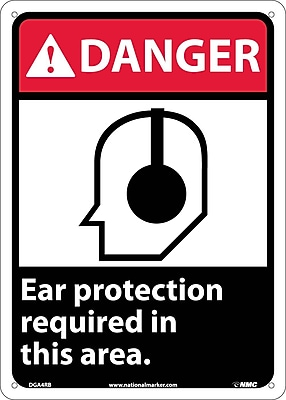 Danger, Ear Protection Required In This Area (W/Graphic), 14X10, Rigid Plastic