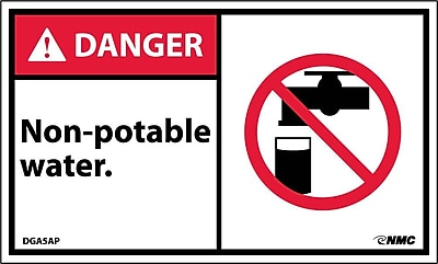 Labels - Danger, Non-Potable Water (Graphic), 3X5, Adhesive Vinyl, 5/Pk