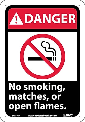 Danger, No Smoking Matches Or Open Flames (W/Graphic), 10X7, Rigid Plastic