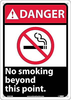 Danger, No Smoking Beyond This Point (W/Graphic), 14X10, .040 Aluminum