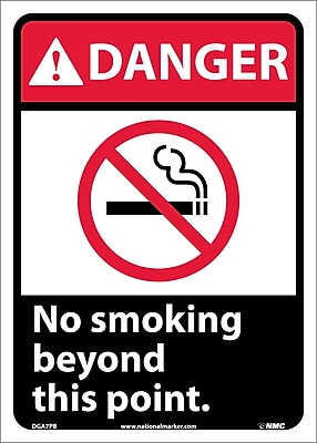 Danger, No Smoking Beyond Thisd Point (W/Graphic), 14X10, Adhesive Vinyl
