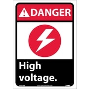 Danger, High Voltage (W/Graphic), 14X10, Adhesive Vinyl