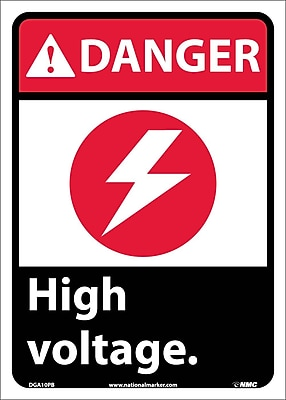 Danger, High Voltage (W/Graphic), 14X10, Adhesive Vinyl