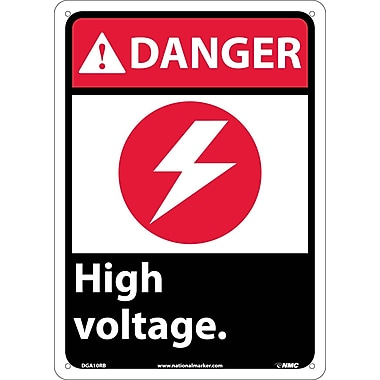 Danger, High Voltage (W/Graphic), 14X10, Rigid Plastic