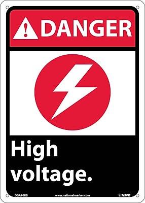 Danger, High Voltage (W/Graphic), 14X10, Rigid Plastic