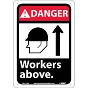 Danger, Workers Above (W/Graphic), 10X7, Rigid Plastic