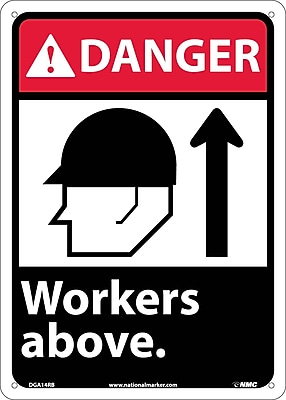 Danger, Workers Above (W/Graphic), 14X10, Rigid Plastic