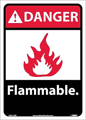 Danger, Flammable (W/Graphic), 14X10, Adhesive Vinyl