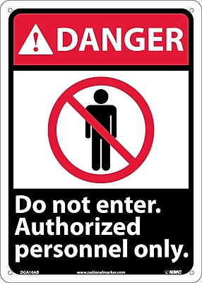 Danger, Do Not Enter Authorized Personnel Only (W/Graphic), 14X10, .040 Aluminum